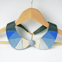 Detachable Collar Blue and White Leather Bib Necklace Statement Leather Necklace Geometric Triangles Necklace Button Jewelry