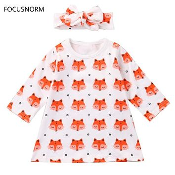 FOCUSNORM 2Pcs Fashion Baby Girl Dress Newborn Baby Girls Pajamas Cotton Fox Dress Headband Outfit Cute Sets Clothes