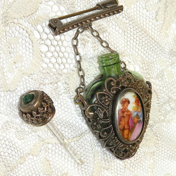 Antique Perfume Bottle Pendant Glass Dabber Perfume Bottle Emerald Glass Filigree Bottle Collectible Scent Pin Bottle