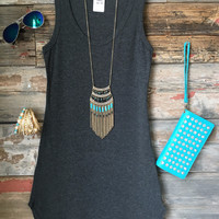 Fun in the Sun Tank Dress: Charcoal