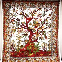 White Tree Of Life Tapestry Wall Hanging Bedspread Indian Handmade Decor