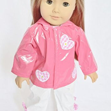 PINK HEARTS RAINCOAT-PANTS-AND BOOTS OUTFIT FOR AMERICAN GIRL DOLLS
