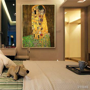 2016 Gustav Klimt Kiss Printed Painting On Canvas Wall Art Picture For Living Room Home Decor Or Hotel Unframed gift Portrait