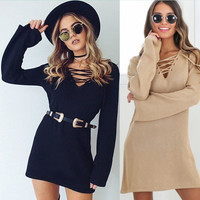 Long Sleeve Lace Up Cross Collar Shift Dress