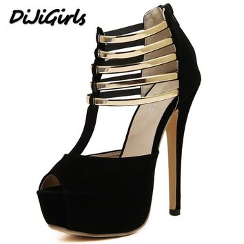 DijiGirls New spring summer shoes woman high heels sandals party wedding dress peep toe women pumps platforms gladiator shoes