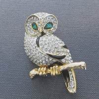 Vintage Owl Brooch Rhinestone and Enamel