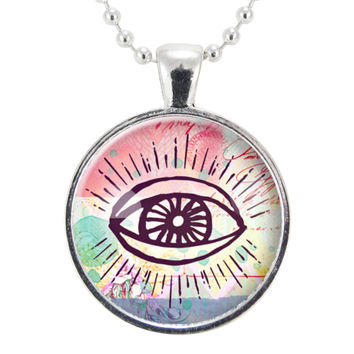 Third Eye Necklace, Gypsy Jewelry, Colorful Pendant