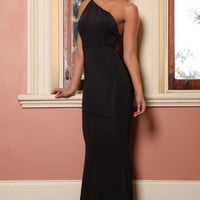 One Shoulder Open Back Fishtail Black Long Dress