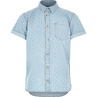 River Island Boys denim triangle print shirt