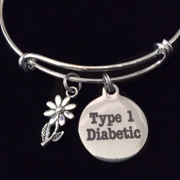 Type 1 Diabetic Silver Expandable Charm Bracelet Diabetes Adjustable Bangle Medical Alert Jewelry Gift