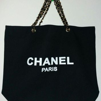 ONETOW New Chanel Paris VIP gift canvas black tote bag