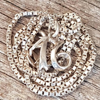 Vintage 16 Pendant Necklace , Sterling Silver , Sweet Sixteen , Number 16 Pendant, 16th Birthday Gift