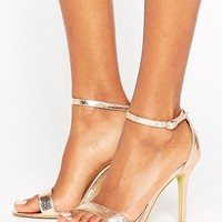 Glamorous Gold Patent Two Part Heeled Sandals at asos.com