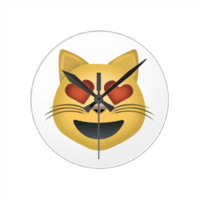 Smiling Cat Face With Heart Shaped Eyes Emoji Round Wallclocks