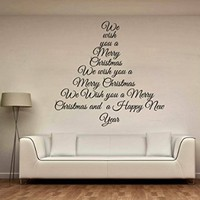 Wall Decals We Wish You a Merry Christmas Tree Decoration Decal Vinyl Sticker Home Art Bedroom Home Decor Living Room Art Murals MS732