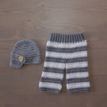 Crochet Grey and White Striped Pants with Grey Newsboy Cap, Crocheted Baby Hat, Crochet Baby Hat, Crochet Set, Newborn Photo Prop
