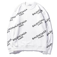 """Balenciaga"" Classic Popular Women Men Loose Letter Print Long Sleeve Round Collar Sweater Top White I-CP-ZDL-YXC"
