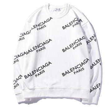 """""""Balenciaga"""" Classic Popular Women Men Loose Letter Print Long Sleeve Round Collar Sweater Top White I-CP-ZDL-YXC"""