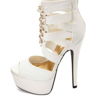 Anne Michelle Lace-Up Cut-Out Mega-Platform Heels