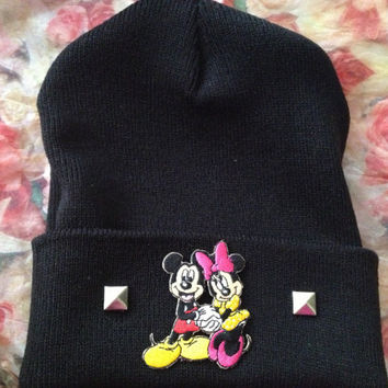 Mickie and Minnie mouse studded beanie by LoveDarkParadise on Etsy