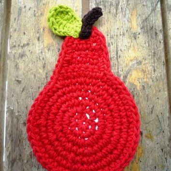 Crochet Pear Coasters - Red set of 4