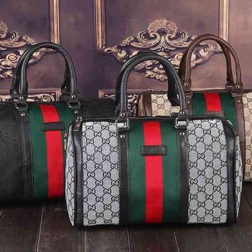 Gucci Women Leather Luggage Travel Bags Tote Handbag-2