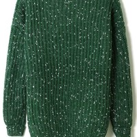 White Dots Chunky Knit Sweater in Green