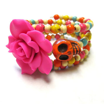 Day of the Dead Bracelet Sugar Skull Jewelry Rainbow Stone Pink Rose Wrap Cuff