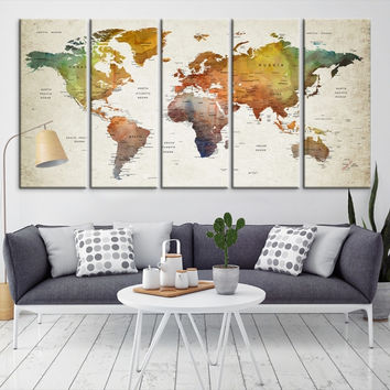 70264 - Large Wall Art World Map Canvas Print- Custom World Map Push Pin Wall Art- Custom World Map Canvas Poster Print- Personalized Wall Art