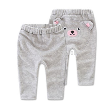 Winter Girls Leggings Pants 2016 Cartoon Bear Warm Plus Thick Velvet Pants Kids Girl Casual Trousers Clothes