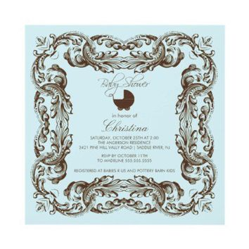 Vintage Frame Brown Blue Baby Shower Invitation from Zazzle.com