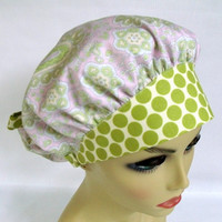 Bouffant Womens Surgical Scrub Hat or Cap Paisley in Rose