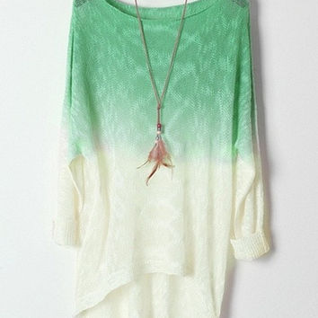 Ombre High-low Sweater = 1920551812