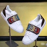 Louis Vuitton LV New fashion pattern print leather leisure high quality women shoes White