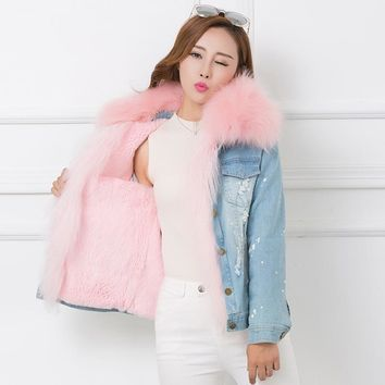 2017 Winter Fur Jean Jacket Women Real Big Raccoon fur Denim Jeans Jackets Women Pink Fur Lines Female Jacket Overcoat A668