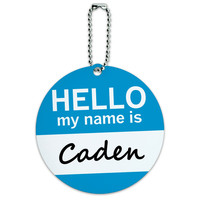 Caden Hello My Name Is Round ID Card Luggage Tag