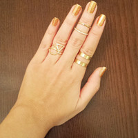 Two Band Adjustable Ring in Gold