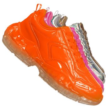Crystal7 Daddy Fashion Sneaker - Women 90s 80s Chunky Transparent Platform Shoe