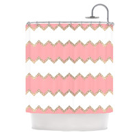 "Monika Strigel ""Avalon Coral Chevron"" White Blush Shower Curtain"