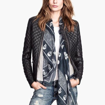 Black Long Sleeve Plaid Accent Leather Jacket