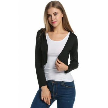 Women's Basic Long Sleeve Solid Bolero Shrug Crop Cardigan