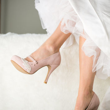 Blush Wedding Shoes - Blush Mary Jane Pumps, Blush Heels, Blush Pumps with Ivory Lace. US Size 8
