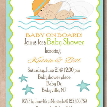 Surf theme baby shower invitation, 1st birthday invitation, baby on board, baby surfer printable invite, DIGITAL FILE