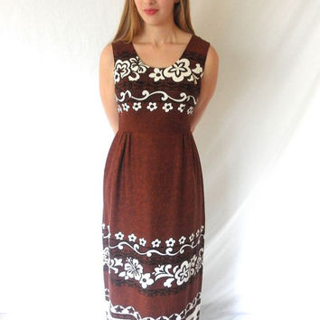 70s Hawaiian Tiki Lounge Maxi Sleeveless Brown Dress with Flowers Barkcloth Vintage Designer Holo Made in Hawaii // Size 12