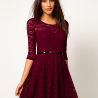 ASOS Skater Dress In Lace With 3/4 Sleeve