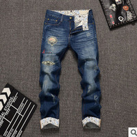 Fashion Korean Men Stylish Ripped Holes Denim Pants Jeans [6528535939]