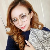 Large Round Retro Metal Frame Glasses