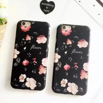 Vintage Black Flower Case for iPhone