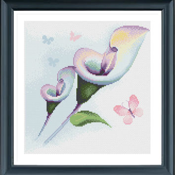 Flower Cross Stitch, Cross Stitch Flowers, Butterfly Cross Stitch, Floral Cross Stitch, Retro cross stitch, Calla Lilies H191