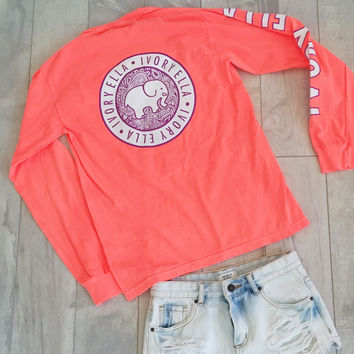 Neon Coral Campus Long Sleeve Tee